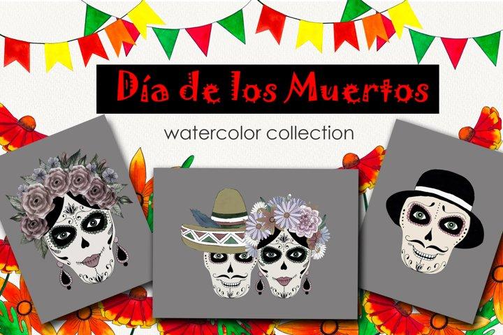 Dia De Los Muertos Watercolor set