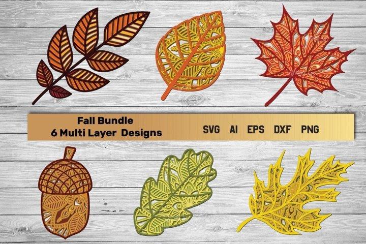 Fall SVG | Multi Layer Bundle svg | 3d Layered Leaf Cut File