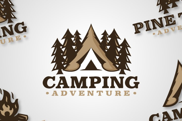 A collection of Vintage Adventure Camping Logo Designs
