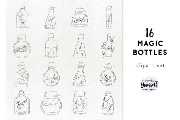 Handdrawn bottles clipart - doodle floral bottles