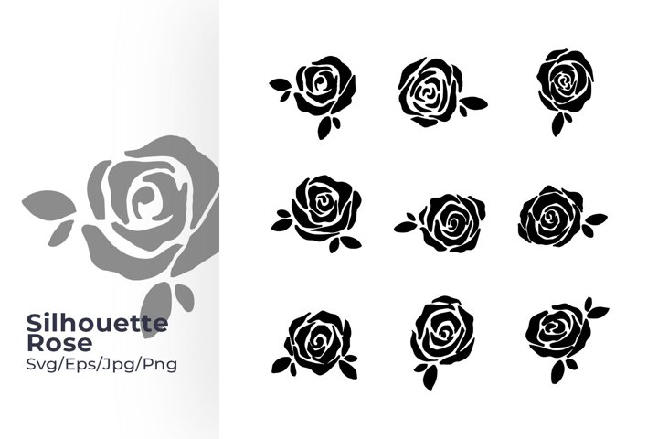 Hand drawn Silhouette Rose flower sets Svg Design