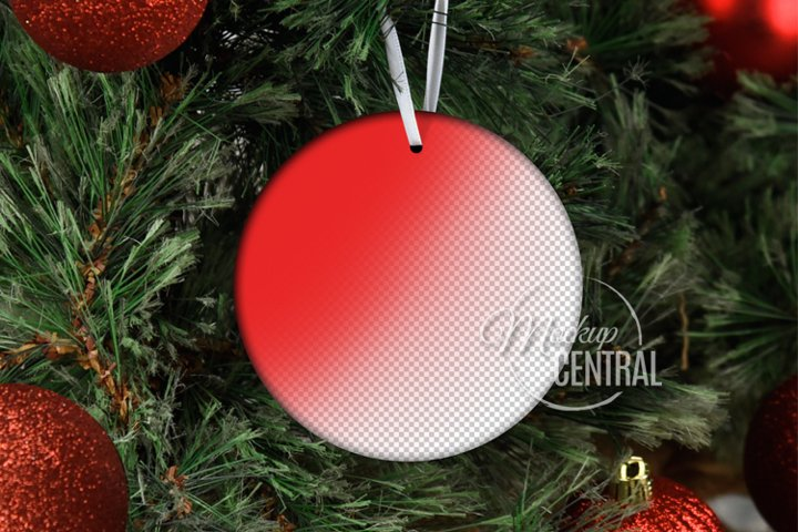 Hanging Round Christmas Tree Ornament Mockup PSD