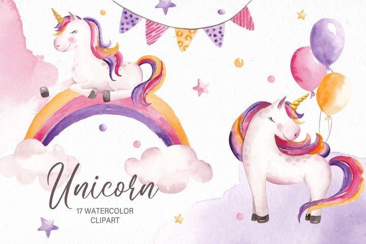 Watercolor Unicorn Clipart, Birthday Clipart