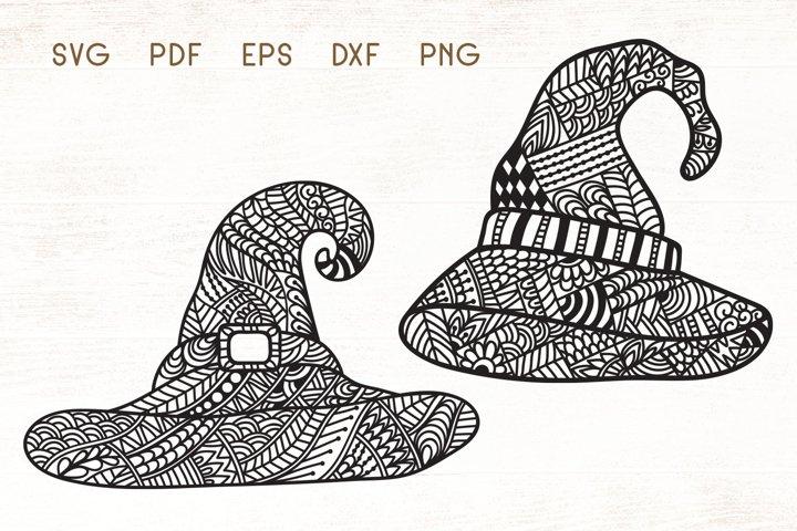 Witch Hat - Halloween Hat Zentangle SVG