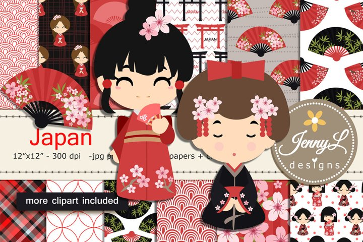 Japan Digital Papers and Japanese Clipart SET