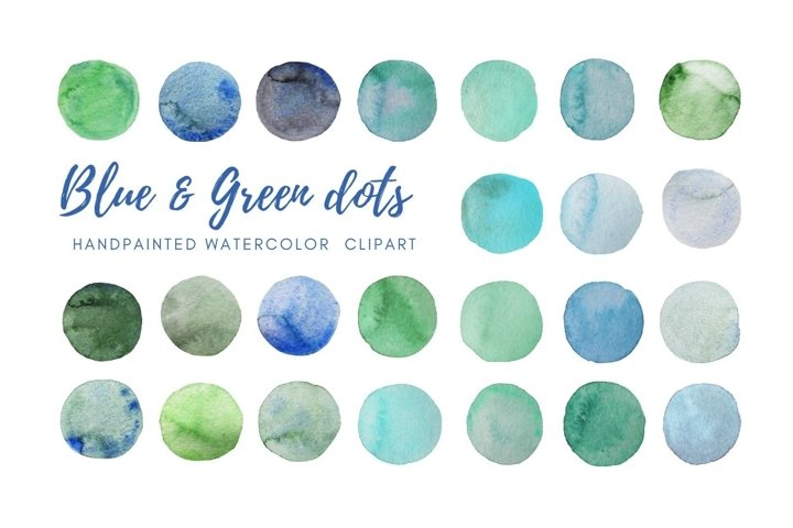 Watercolor teal dots clipart. Hand painted Spots
