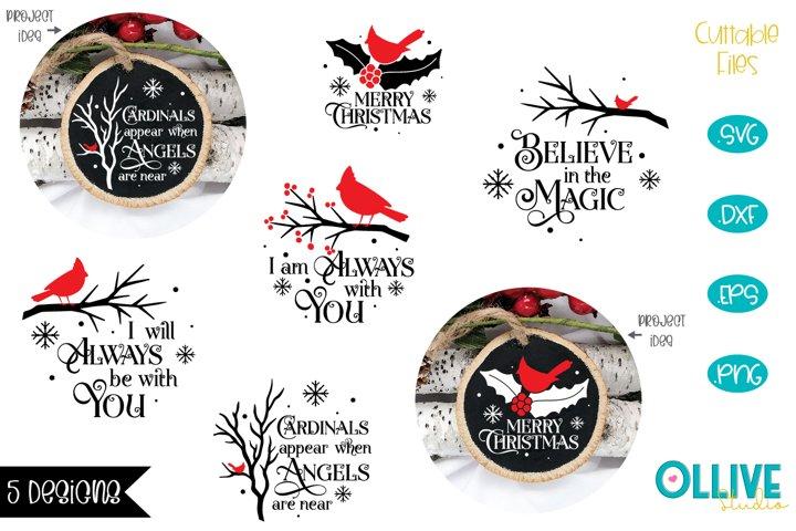 Christmas Cardinal Round Ornament Bundle SVG
