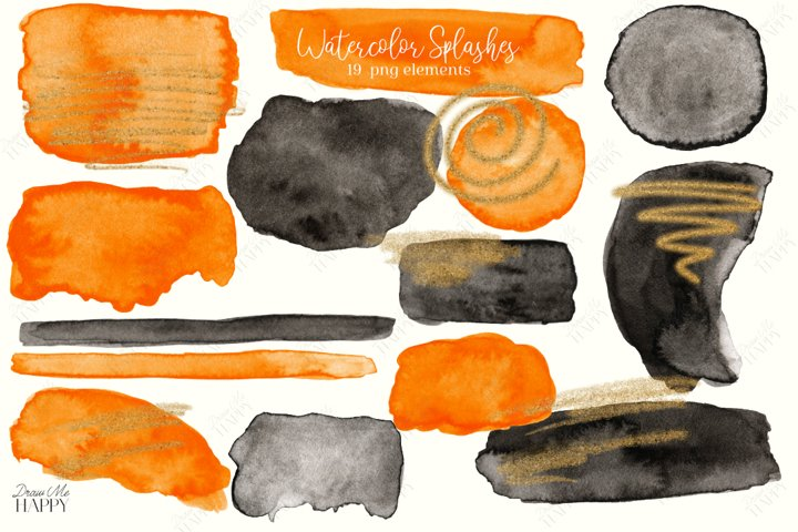Watercolor Splashes, Black Watercolor Splash, Halloween png