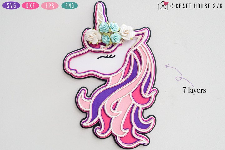 3D Layered SVG | 3D Unicorn SVG | 3D Unicorn Layered SVG