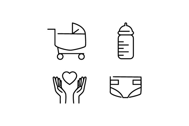 Set of Linear Baby Icon Design Vector