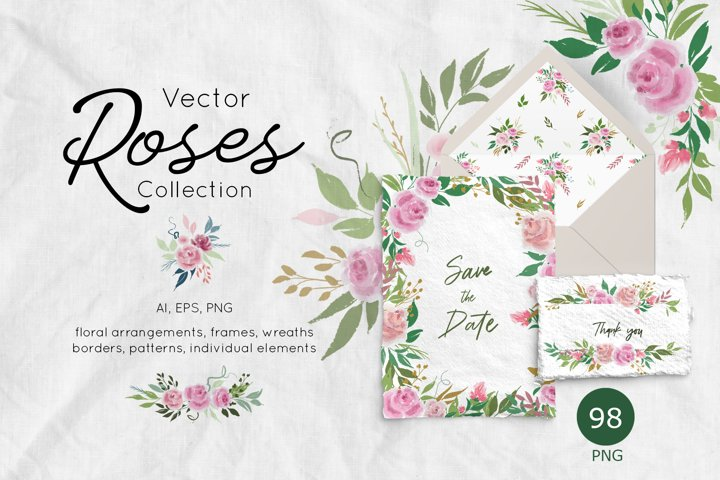 Vector Roses Collection, floral arrangements and frames