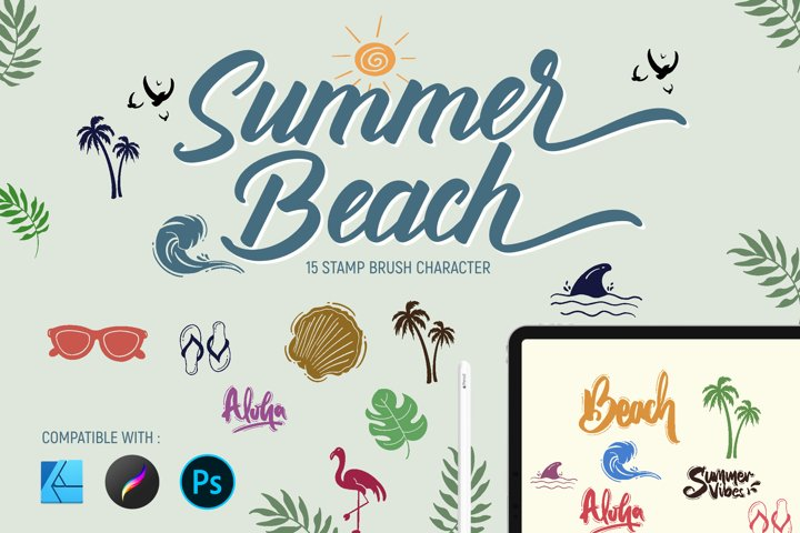 Summer beach | Stamp brushes