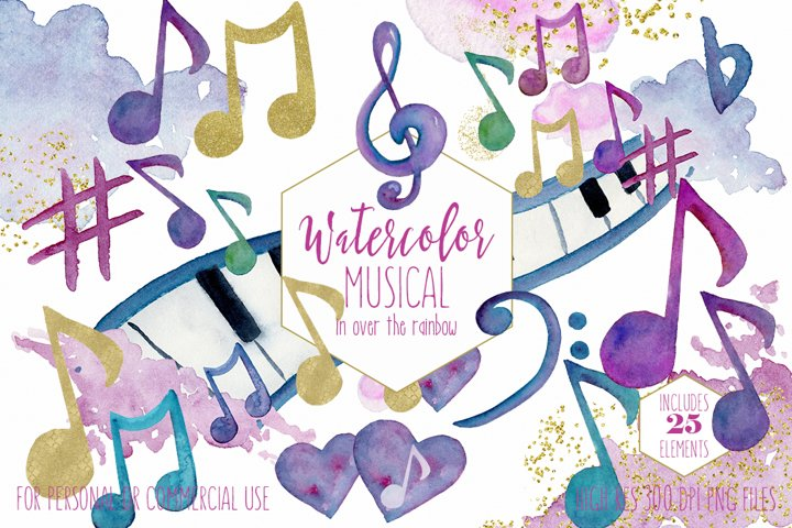 WATERCOLOR MUSIC Clipart Rainbow Music Notes & Metallic Gold Treble Clef Piano Keys Fun Watercolour Paint Splash Graphics