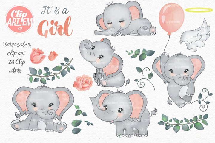 Elephant Girl Coral Watercolor 23 PNG