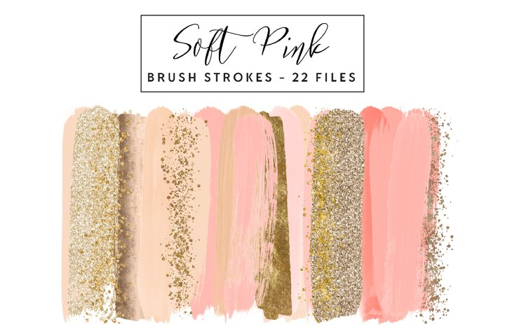 Soft Pink and Gold Brush Strokes Clip Art