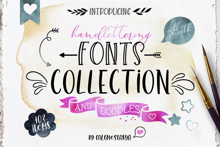 Smooth Handlettering Fonts Collection and Doodles