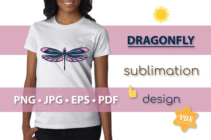 Colorful Dragonfly_Vector Illustration_Sublimation_Print_2