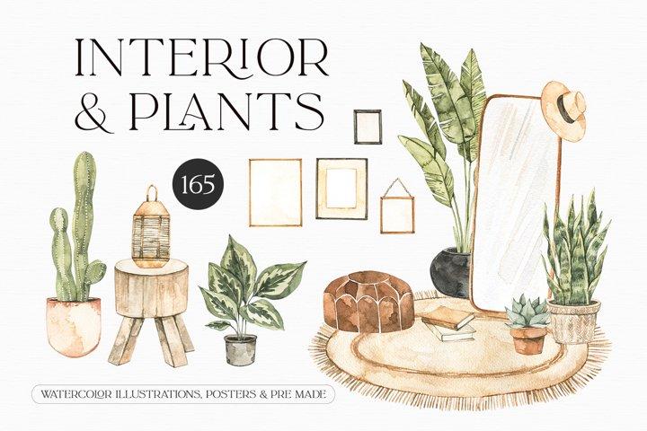 Watercolor Interior, Plants & decor