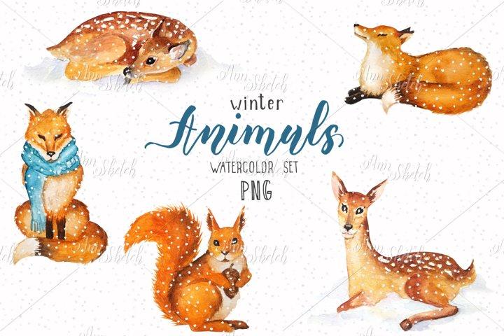 Watercolor winter animals set