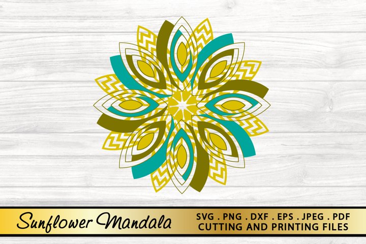 Mandala SVG PNG EPS DXF Sunflower SVG Floral SVG Cut File