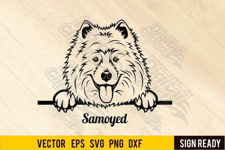Peeking Samoyed Laika DOG SVG Ready Cut