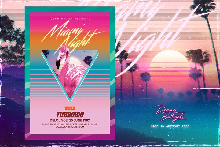 Miami Night 80s Synthwave Flyer Template