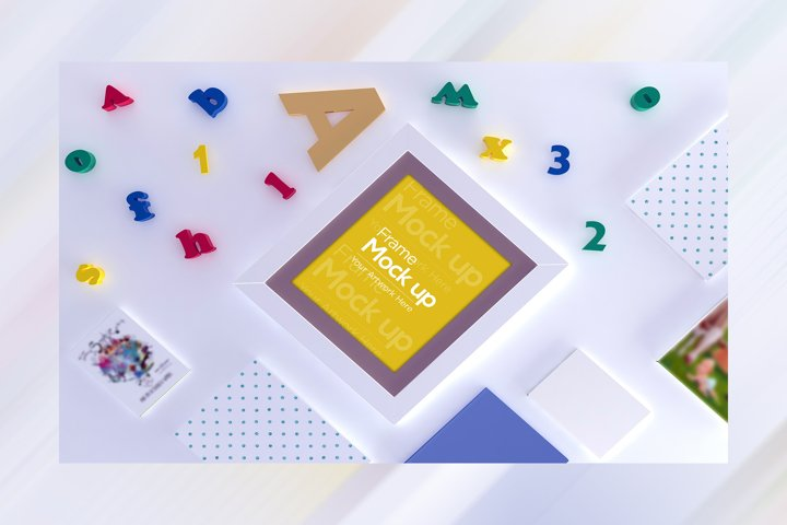 Kids Frame Flat lay Mockup design with alphabet toys