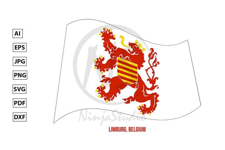 Limburg Flag Waving. Provinces Flags of Belgium