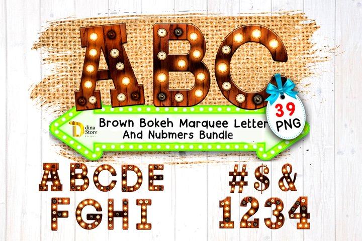 Brown Bokeh Marquee letters & Numbers Bundle