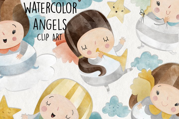 Watercolor Angels Clipart. Set of 10 png. Christmas Angels.