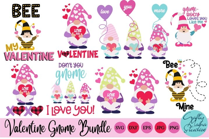 Valentines Day SVG Valentine Gnome Bundle Gnome Sublimation