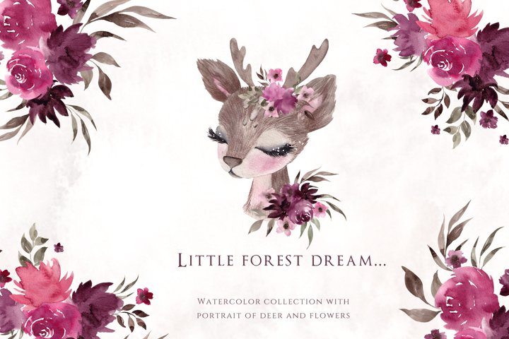 Little Forest Story. Watercolor collection