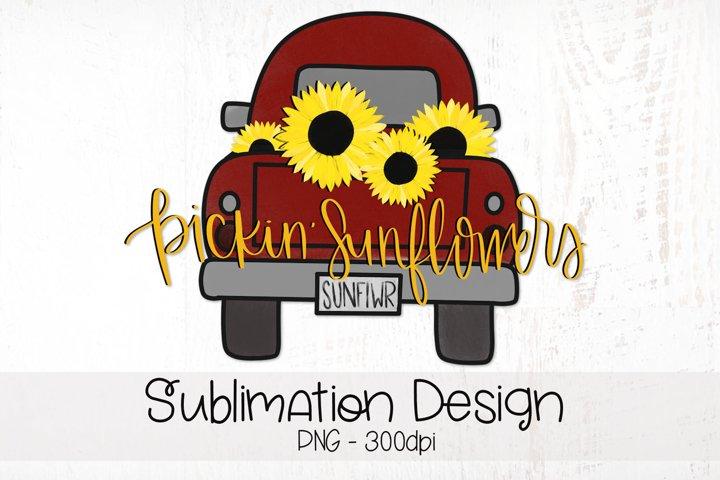 Pickin Sunflowers, Vintage Farm Truck, Sublimation