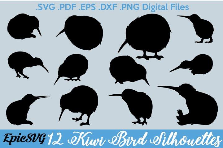 12 Kiwi Bird Silhouettes | Digital Files for Cut Machine