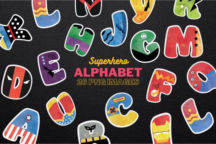 Superhero alphabet clipart Big caps, uppercase ABC Alphabet