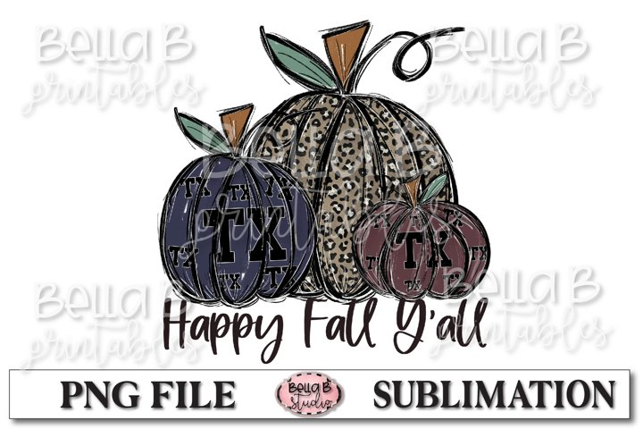 Texas Fall Pumpkins Sublimation Design