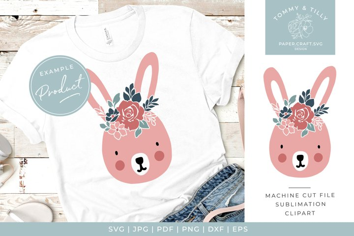 Cute Easter Floral Rabbit - Cute Nursery Kids SVG Cut File