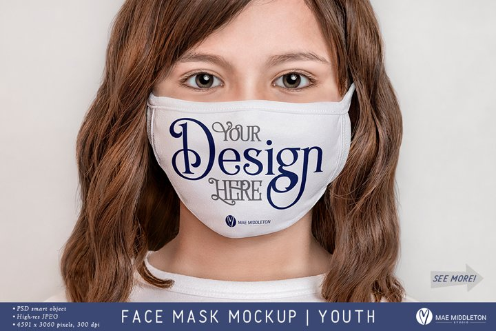 Face Mask Mockup, Youth | psd & jpg