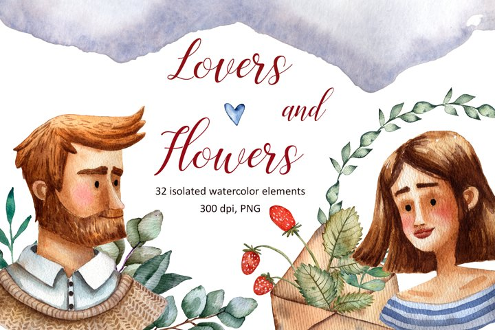 Lovers and Flowers - Watercolor Set