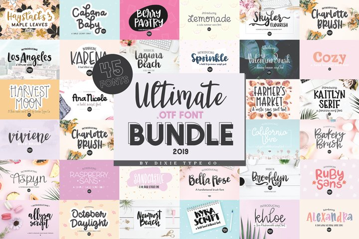 ULTIMATE .OTF FONT BUNDLE 2019 - 45 HAND LETTERED FONTS