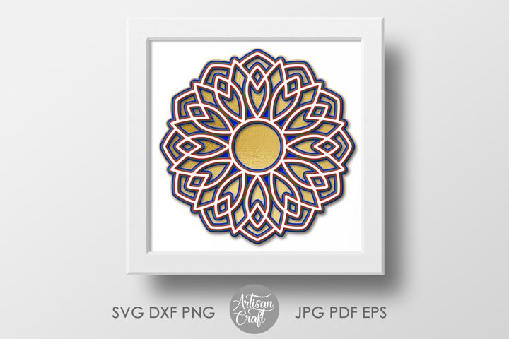 3D Layered mandala SVG, 3D paper sculpture, layered vinyl example 4