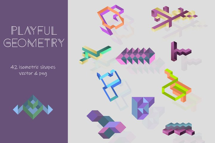 Playful Geometry. 42 vector isometric shapes