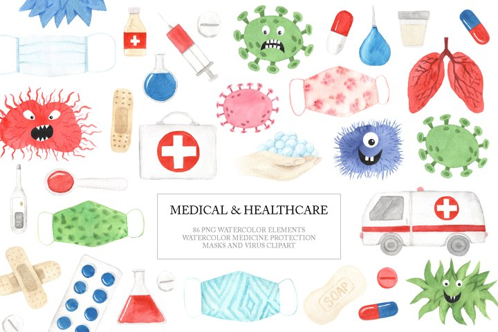 Watercolor Medical Healthcare Clipart