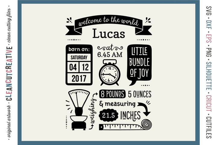BIRTH STATS TEMPLATE - Baby Birth Announcement - SVG file
