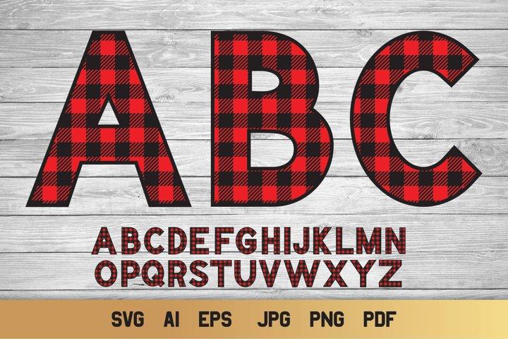 Buffalo Plaid SVG Alphabet | 26 Alphabet Letters SVG