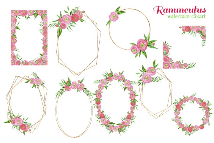 Watercolor pink ranunculus bouquets example 1
