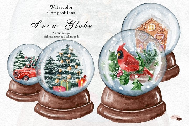 Christmas Snow Globe, Winter PNG watercolor objects, Brown