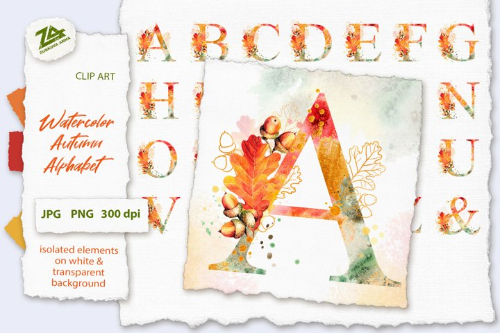 Fall Watercolor Alphabet, Autumn Letters clipart JPG PNG