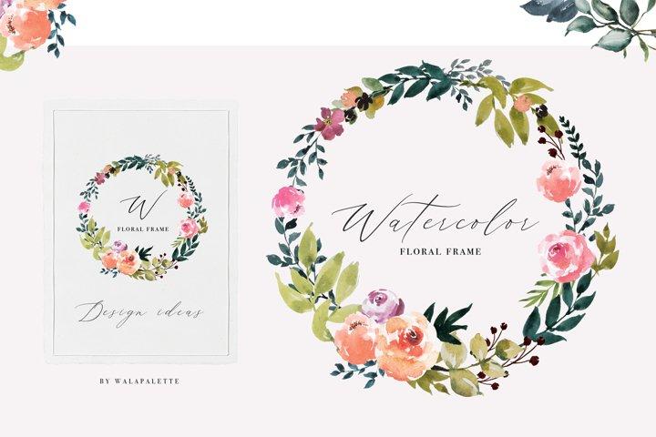 Watercolor Flower Frames Border Design PNG