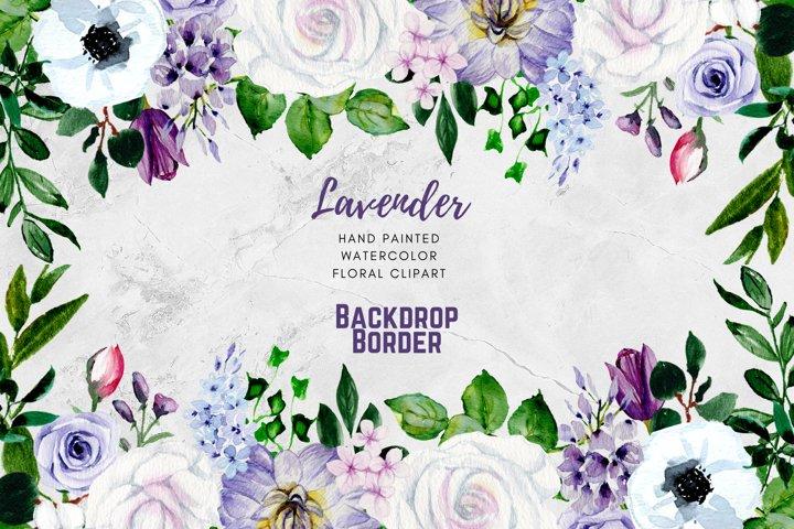 Mauve Violet Lavender Watercolor Flower Clipart Head drop